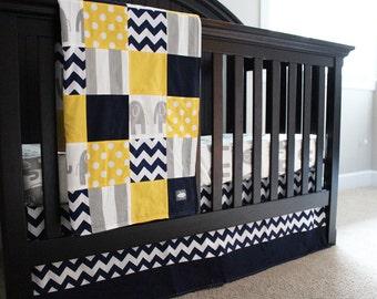 Grey, Yellow Crib Bedding Set, Elephant Nursery, Navy Blue Chevron Crib Skirt, Fitted Sheet, Polka Dot, Stripe, Baby Minky Blanket