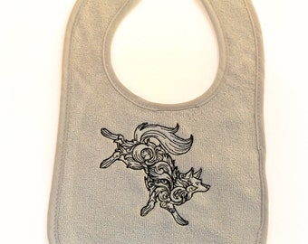 Baroque Wolf embroidered feeding bib.