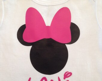 Personalized Minnie Mouse Baby Girl Onesie Bodysuit Short sleeve