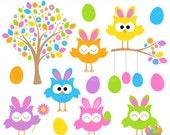 easter owls clip art clipart digital spring - Easter Owls Digital Clip Art