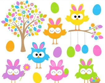 easter owls clip art clipart digital spring - Easter Owls Digital Clip Art