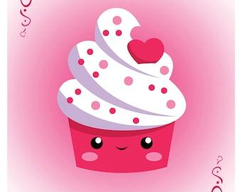"Cutie Valentine Cupcake Art Print (8 1/2"" x 11"")"