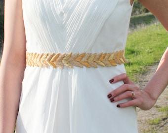 HANABI in Gold - Metallic Bullion Embroidered Bridal Belt, Wedding Sash