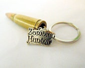 Key Ring,  Brass Bullet, With Zombie Hunter Sign,  Mens Womens Gift  Handmade