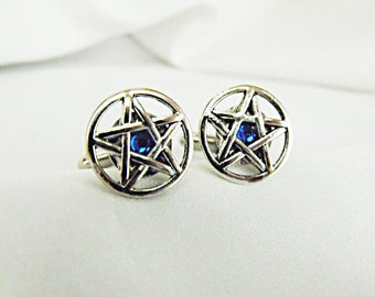 Mens Cufflinks,  Silver Pentagrams With Blue Rhinestone  Mens Accessories