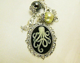 Silver Cameo Necklace,  Unique Steampunk Glow in the Dark Octopus necklace With Pearls And Charms  Womens Gift   Handmade