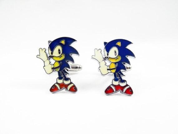 Mens Cufflinks,   Enameled  Hedgehog Video Game Jewelry Weddings Groomsmen (Yellow)  Mens Accessories  Handmade