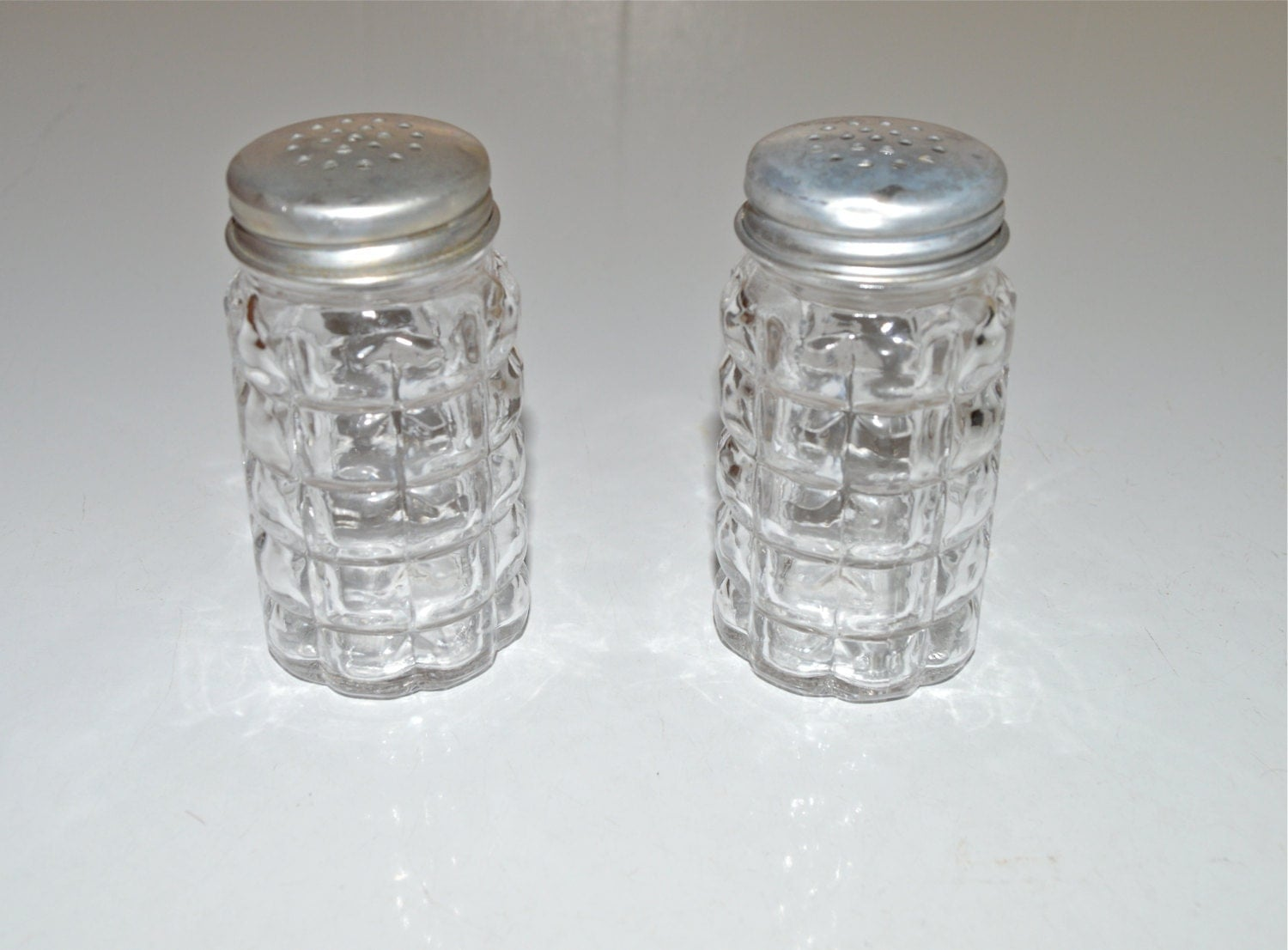 Clear Glass Salt Pepper Shakers Anchor Hocking Waffle Design