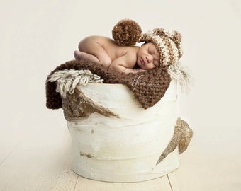 Newborn photography prop short tail elf hat in Brown and Beige OR ANY COLOR (chart inside, available in 1-3mos, 3-6mos, 6-12mos)