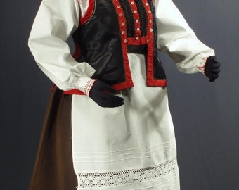 Complete Woman's Polish Folk Costume from Kurpie, Poland - embroidered blouse | black vest | brown skirt | white apron