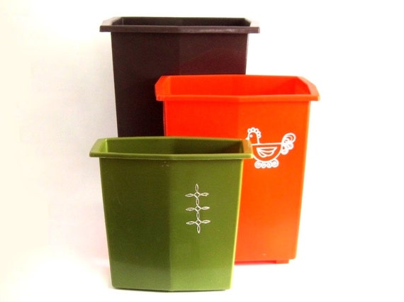 plastic kitchen trash cans bathroom waste basket 1970s 1980s orange
