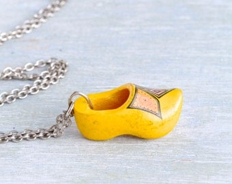 Little Yellow Clog Necklace - Souvenir from Holand Pendant Charm on a chain