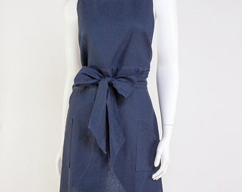 Ladies Full Tulip Style Apron- Midnight Blue