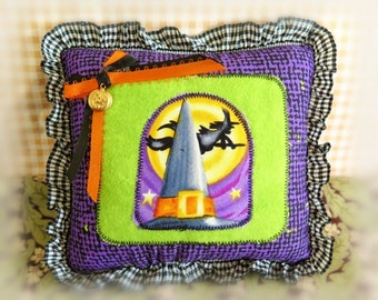 "Halloween  Pillow 6"" Witch Hat Print  Fall Autumn Halloween Primitive Soft Sculpture Handmade CharlotteStyle Decorative Folk Art"