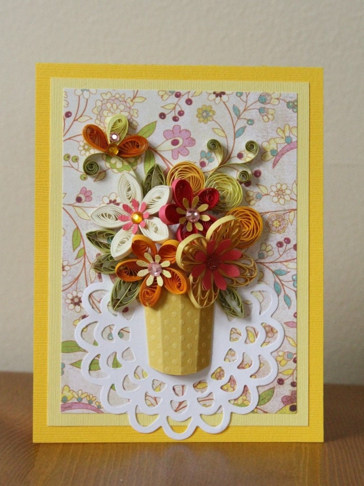 handmade quilling greeting yellow card with quilled flowers