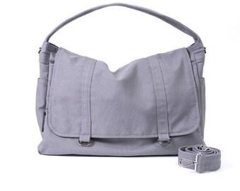 ASHTON // Dark Grey / Lined with Beige / 061 // Ship in 3 days // Messenger Bag / Diaper bag / Shoulder bag / Tote bag / Gym ba