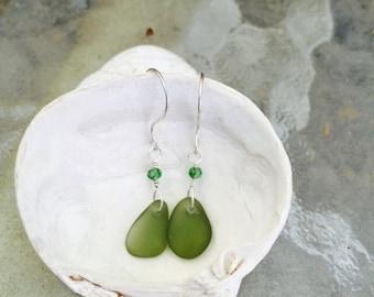 Sage Sea Glass Earrings