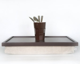 Wood Sofa tray, Breakfast serving or Laptop Lap Desk- greyish brown with natural thick linen pillow