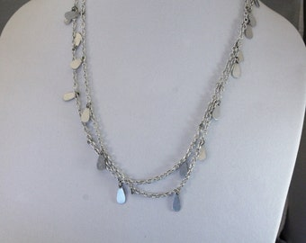Long Light Weight Silver Tone With Teardrops Fashion Necklace