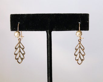Gold / Brass Tone With Faux Pearl and Hanging Leaf Earrings - Pierced