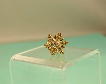 Small Snowflake With Rhinestone / Crystal Pin