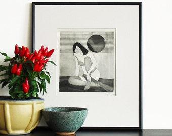 Original Etching Print Erotic Geisha SHY GIRL Asian Nude Printmaking Aquatint Poetic Wall Decor Fine Art Limited Edition 10x10