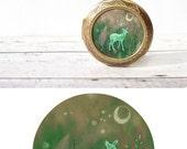 ILLUSTRATED DEER LOCKET large / Fawn Locket / Boho Style Woodland Animal Jewelry / Nature Lover Extra Large Locket / Emerald Forest Green