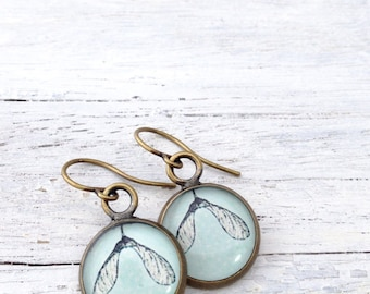 Bronze Sky Blue Earrings maple seed Everyday Earrings
