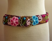 "Handmade Embroidered women's belt size 31"" to 40"" in brown, organic"