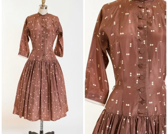 Vintage 50s Dress Brown White Dots Acetate Taffeta 1950s Vintage New Look Shirt Waist Dress by Gay Gibson Size Small