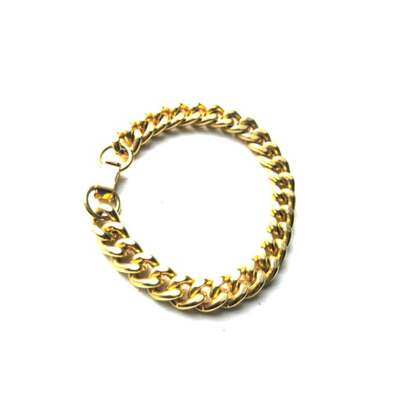 gold chunky chain link bracelet by darlingtoniavintage