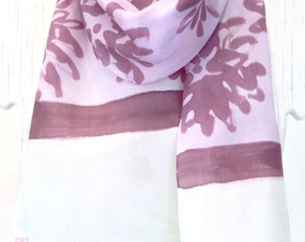 Small Silk Scarf Handpainted, Pastel Purple, Ice Green and Azuki Purple Japanese Floral Scarf, Silk Scarves Takuyo. 8x54 inches.