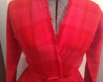 ON SALE! 50s Anne Fogarty Designer Plaid Tweed Valentine's Day Red Surplice Wrap Dress w/ Belt size Small Sm Couture Vogue High Fashion