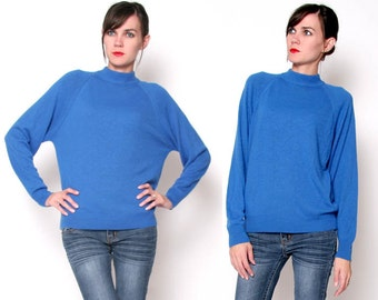 Vintage blue 80s Extra Soft Turtle Neck Sweater / Slouchy Top Boxy Top Oversized Small Medium