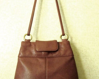 Stone Mountain shoulder bag leather satchel tote bag long straps whiskey ginger brown vintage 90s pebble grain leather purse