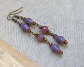 Paper bead earrings ~ pink purple fire agates ~ purpueus lavender jewelry ~