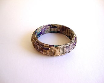 Textile woven bracelet: purples and teal vintage wrapped woven textile bangle bracelet