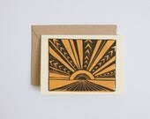 Horizon Card, block printed, 3.5x5, personal stationery
