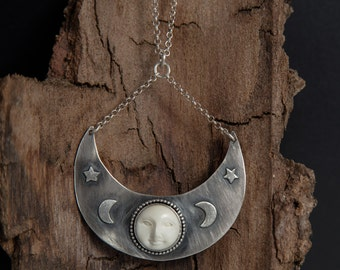 Moon Necklace-Sterling Silver Moon Phase Necklace-Moon Face Pendant-Crescent Moon Pendant-Statement Jewelry