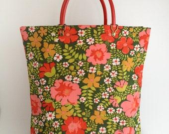 Vintage Floral Print Market Bag