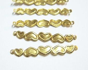 12/Brass Connectors/Raw Brass Hearts Links Connectors/Raw Brass Narrow Hearts Connectors/Raw Brass Bar Links/