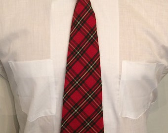 Vintage MENS Bond Style Manor red, green & white plaid rockabilly or swing tie, circa 40s-50s