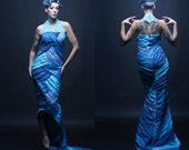 S. Size small womens. Blue Silk Mermaid Gown. Formal. Alt Wedding. Amazing handmade one of a kind creation.