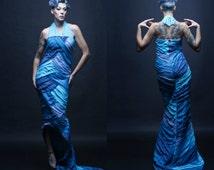 S. Size small womens. Blue Silk Mermaid Gown. Formal. Alt Wedding. Amazing handmade one of a kind creation.