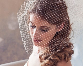 "Birdcage Veil, Blusher Veil, Bird Cage Veil, Wedding Veil, Blusher Veil, Large Full Bridal Veil Netting - 12"" or 18"" in White, Ivory"