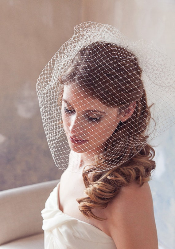 "Birdcage Veil, Blusher Veil, Bird Cage Veil, Wedding Veil, Blusher Veil, Large Full Bridal Veil Netting - 12"" or 18"" in White, Ivory"