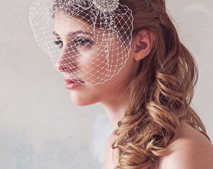 Wedding veil, birdcage veil, Pearl and Crystal Embellished Cage Veil, Wedding Hair Accessories, Mini Blusher Veil, Crystal Veil, STYLE 400