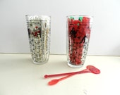 Vintage Cocktail Stirrers Swizzle Sticks PICK ONE White Set or Red/Green Set Cocktail Glass included