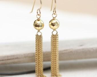 Gold Tassel Earrings, Gold Pyrite Earrings, Gold Dangle earrings, Gold Earrings, Long Gold Earrings, 14K Gold Filled Earrings