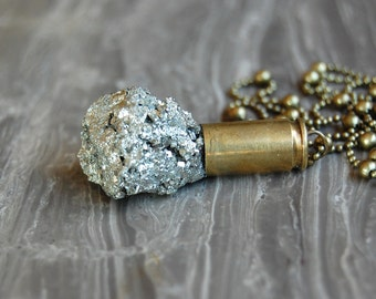 Pyrite Crystal Bullet Pendant - Gifted at GBK's MTV Movie Award Lounge